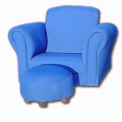 GiftMark 6715B Rocking Chair With Ottoman, Blue