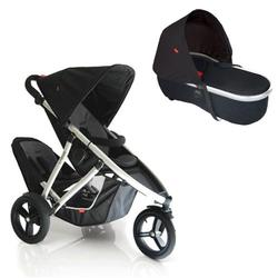 Phil & Teds VIBE2DBKBAS Vibe 2 Buggy Double Stroller With Peanut Bassinet - Black