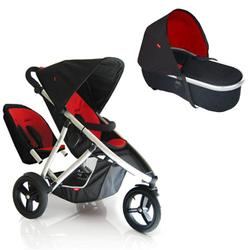 Phil & Teds VIBE2DRDBAS Vibe 2 Buggy Double Stroller With Peanut Bassinet - Red/Black