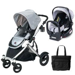 Britax U281774KIT3, B-Ready Stroller and Chaperone Infant Carrier with Diaper Bag - Silver