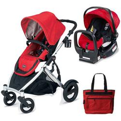Britax U281771KIT3, B-Ready Stroller and Chaperone Infant Carrier with Diaper Bag - Red