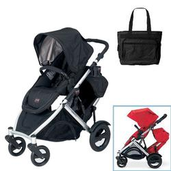 Britax U281772KIT4, B-Ready Stroller and 2nd Stroller Seat with Diaper Bag - Black
