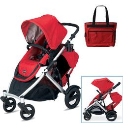 Britax U281771KIT4, B-Ready Stroller and 2nd Stroller Seat with Diaper Bag - Red