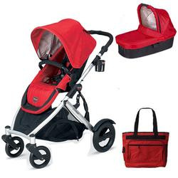 Britax U281771KIT5, B-Ready Stroller and Bassinett with Diaper Bag - Red