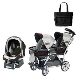 Peg Perego Duette SW Stroller with one Car Seat and a Diaper Bag - Java