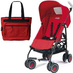 Peg Perego Pliko Mini Stroller with a red Diaper Bag , Fire Red