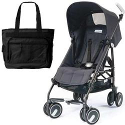 Peg Perego Pliko Mini Stroller with a Black Diaper Bag , Iron Black