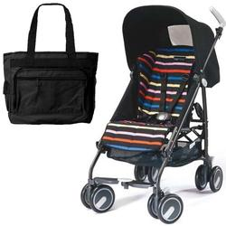 Peg Perego Pliko Mini Stroller with a Black Diaper Bag , Neon