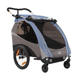 Burley 939205BKIT1, Solo Blue Trailer with 2-Wheel Stroller Kit