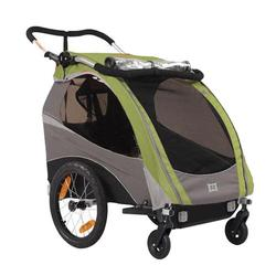 Burley 939205GKIT1, Solo Green Trailer with 2-Wheel Stroller Kit