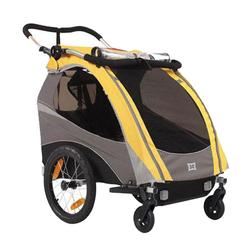 Burley 939205YKIT1, Solo Yellow Trailer with 2-Wheel Stroller Kit