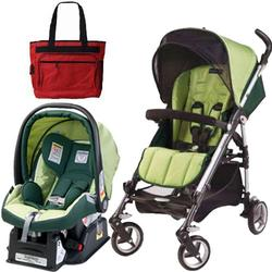 Peg Perego Si Travel System in Mytro Green with Fashionable Diaper bag