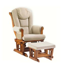 Shermag 37779CB.H4.1041 Glider Rocker and Ottoman in Beige Micro-Fiber with Chestnut Wood Finish