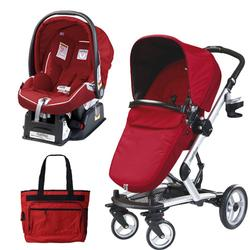 Peg Perego Skate Stroller/Pram System w/Car Seats & Diaper Bag - Geranium Red