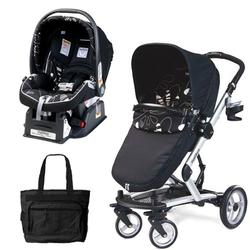 Peg Perego Skate Stroller/Pram System with Car Seats and Fashionable Diaper Bag - Fantasy Nero