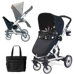 Peg Perego Skate Stroller/Pram System with Skate Jumper Seat and Fashionable Diaper Bag - Fantasy Nero