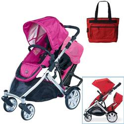 Britax U281784KIT1, B-Ready Stroller and 2nd Stroller Seat with Diaper Bag - Pink