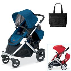 Britax U281767KIT1, B-Ready Stroller and 2nd Stroller Seat with Diaper Bag - Navy