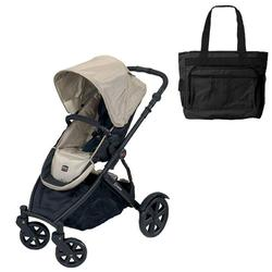 Britax BSTRTWILBAG, B-Ready Stroller - Twilight Champagne with a Black Diaper Bag
