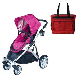 Britax U281784KIT2, B-Ready Stroller - Pink with a Red Diaper Bag