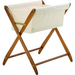 Cariboo Folding Bassinet Teak, White Fabric