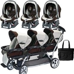 Peg Perego TRIPLEJKIT3 Triplette SW Travel System with 3 Seats and a Diaper Bag  - Java
