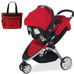 Britax  B-Agile travel system with matching car seat and diaper bag in Red