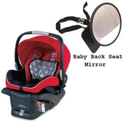 Britax E9LE53BKIT1 - B-Safe Infant Car Seat in Red w/ Back Seat Mirror