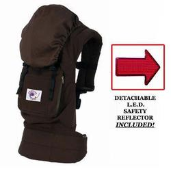 Ergo Baby BC9TODCK Organic Twill Dark Chocolate Baby Carrier with Kona Lining & LED Safety Reflector Light