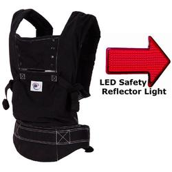 Ergo Baby BC6SPH Black Sport carrier with white stitching in black lining & LED Safety Reflector Light
