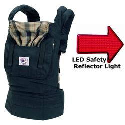 Ergo Baby BCO417NP, Organic Highland Navy Plaid Baby Carrier with LED Safety Reflector Light