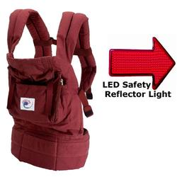 Ergo Baby BC4S Cranberry Baby Carrier with Cranberry Lining with LED Safety Reflector Light