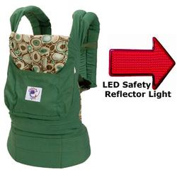 Ergo Baby BCO313PR, Organic River Rock Green Baby Carrier with LED Safety Reflector Light