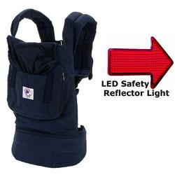 ERGObaby BC12TOM Organic Twill Navy Baby Carrier with Midnight Lining & LED Safety Reflector Light
