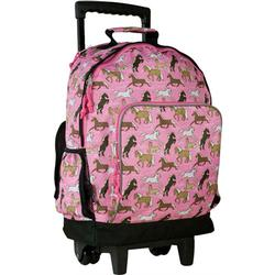 Wildkin 44020 Horses in Pink High Roller Rolling Backpack