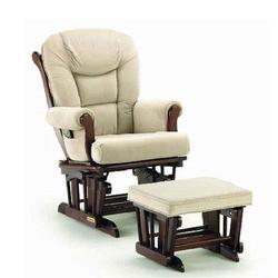 Shermag 37779CB.05.1041 Glider rocker and Ottoman - Beige Micro-Fiber with Cabernet Frame