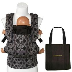 ERGObaby Petunia Pickle Bottom Organic Baby Carrier, BCO001PPB84/Evening in Innsbruck (blk/grey) With a Tote Carry Bag in Black