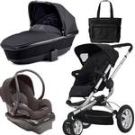 Quinny Buzz 3 Travel System and  Bassinet in Black with Diaper Bag