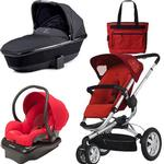 Quinny BUZ3TRSTMR2 Buzz 3 Travel System and Dreami Bassinet in Red with Diaper Bag