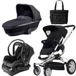 Quinny Buzz 4 Travel System and Dreami Bassinet in Black with a Diaper Bag