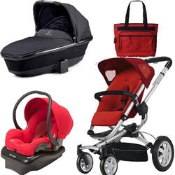 Quinny BUZ4TRSTMR2 Buzz 4 and Dreami Bassinet Travel System in Red with Diaper Bag