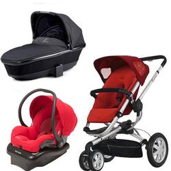 Quinny Buzz Stroller with Bassinet and Mico Carseat Set in Red / black