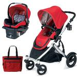 Britax U281771KIT6, B-Ready Stroller and B-Safe Infant Carrier with Diaper Bag - Red