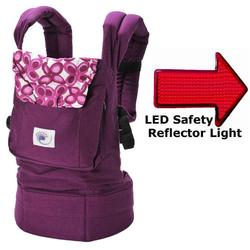 Ergo Baby BC50351KIT1, Purple Mystic Baby Carrier with LED Safety Reflector Light