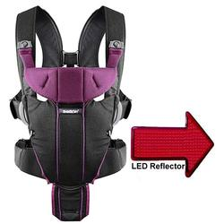 Baby Bjorn - Miracle Baby Carrier with LED Safety Reflector Light - Black/Purple, Cotton Mix