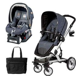 Peg Perego Skate Stroller/Pram System with Car Seats & Diaper Bag - Denim