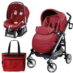 Peg Perego Switch Four Travel System with a Diaper Bag - Geranium Red
