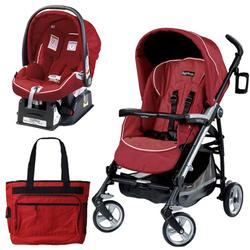 Peg Perego Pliko Four Travel System with a Diaper Bag - Geranium Red