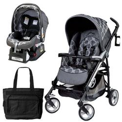 Peg Perego Pliko Four Travel System with a Diaper Bag - Pois Grey