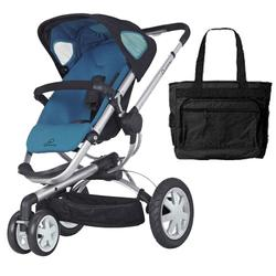 Quinny CV155BFWKT1 Buzz 3 Stroller with Diaper Bag - Blue Scratch